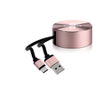 Imagen de Klip Xtreme - USB-C cable - 24 pin USB-C  - 4 pin USB Type A - 1 m - Rose gold - Retractable